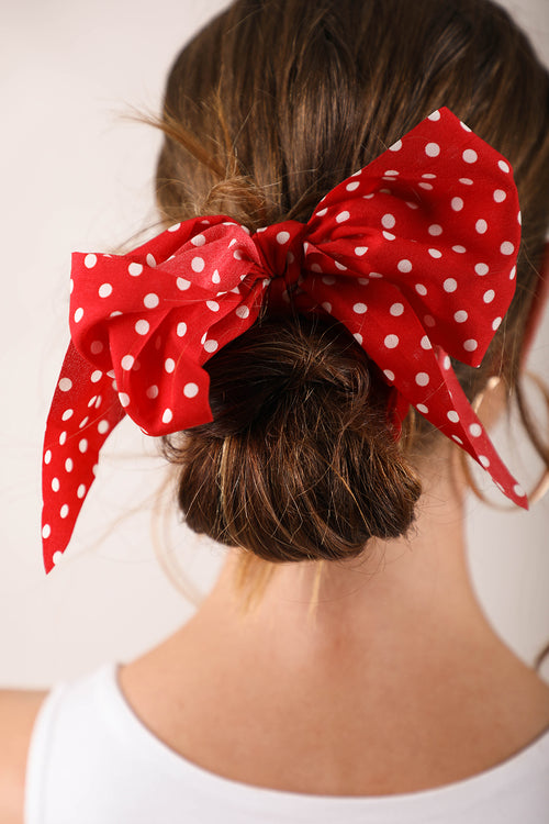 Red and white spotty scrunchie