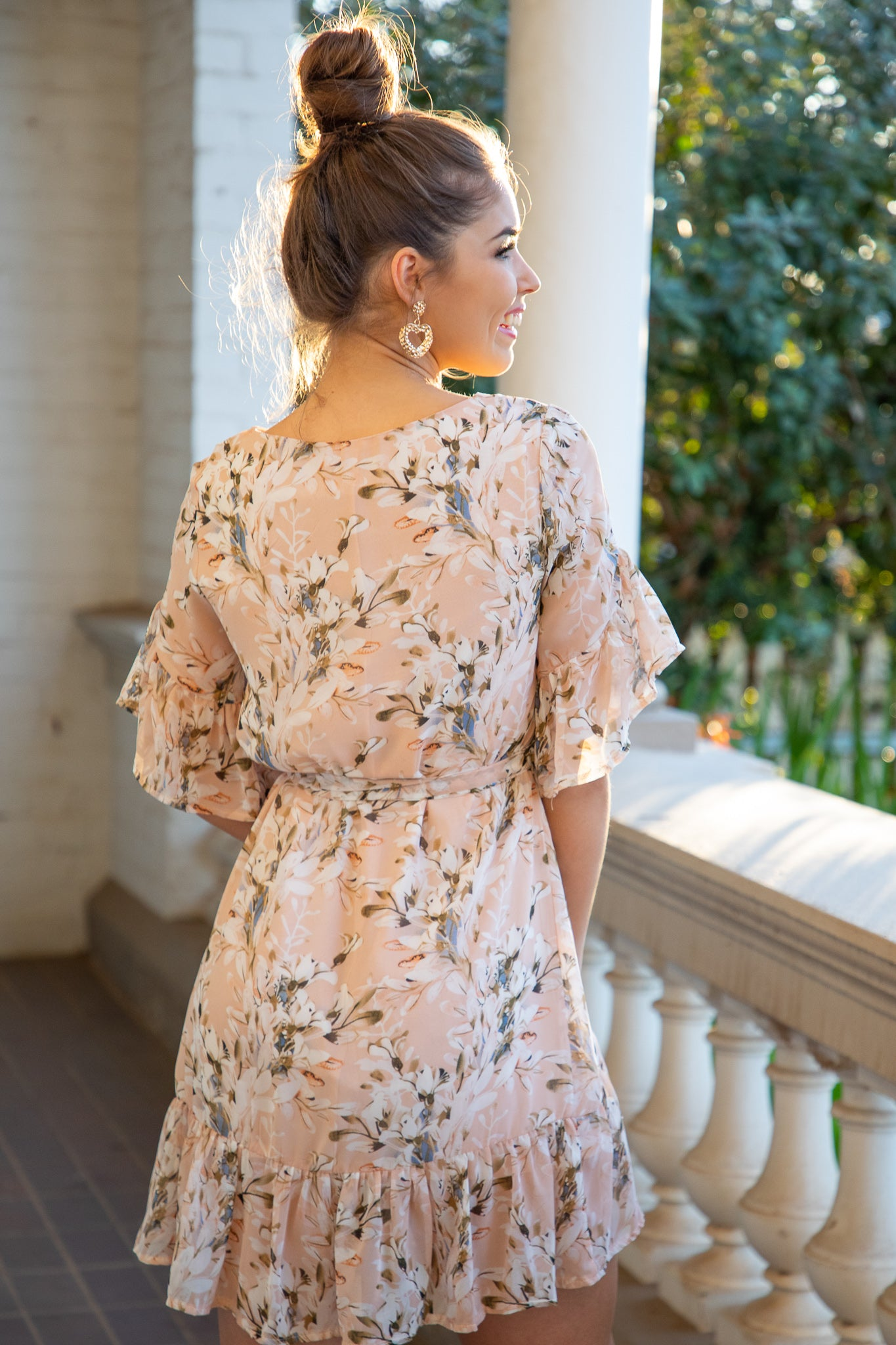 beige floral mini dress