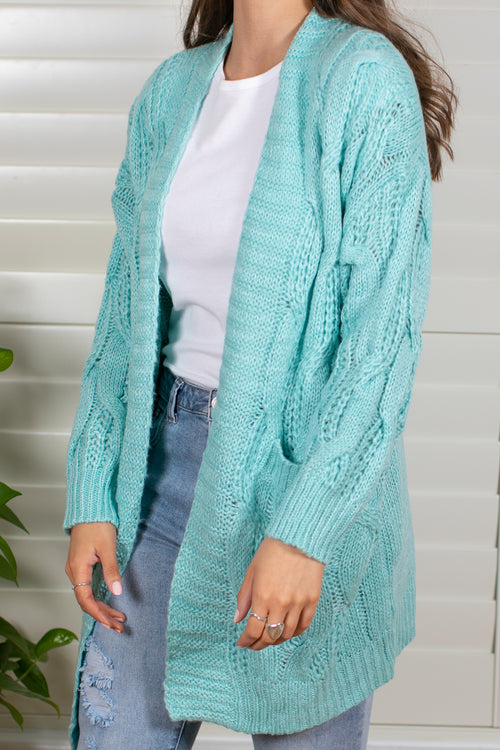 Radisha Cardigan in Aqua