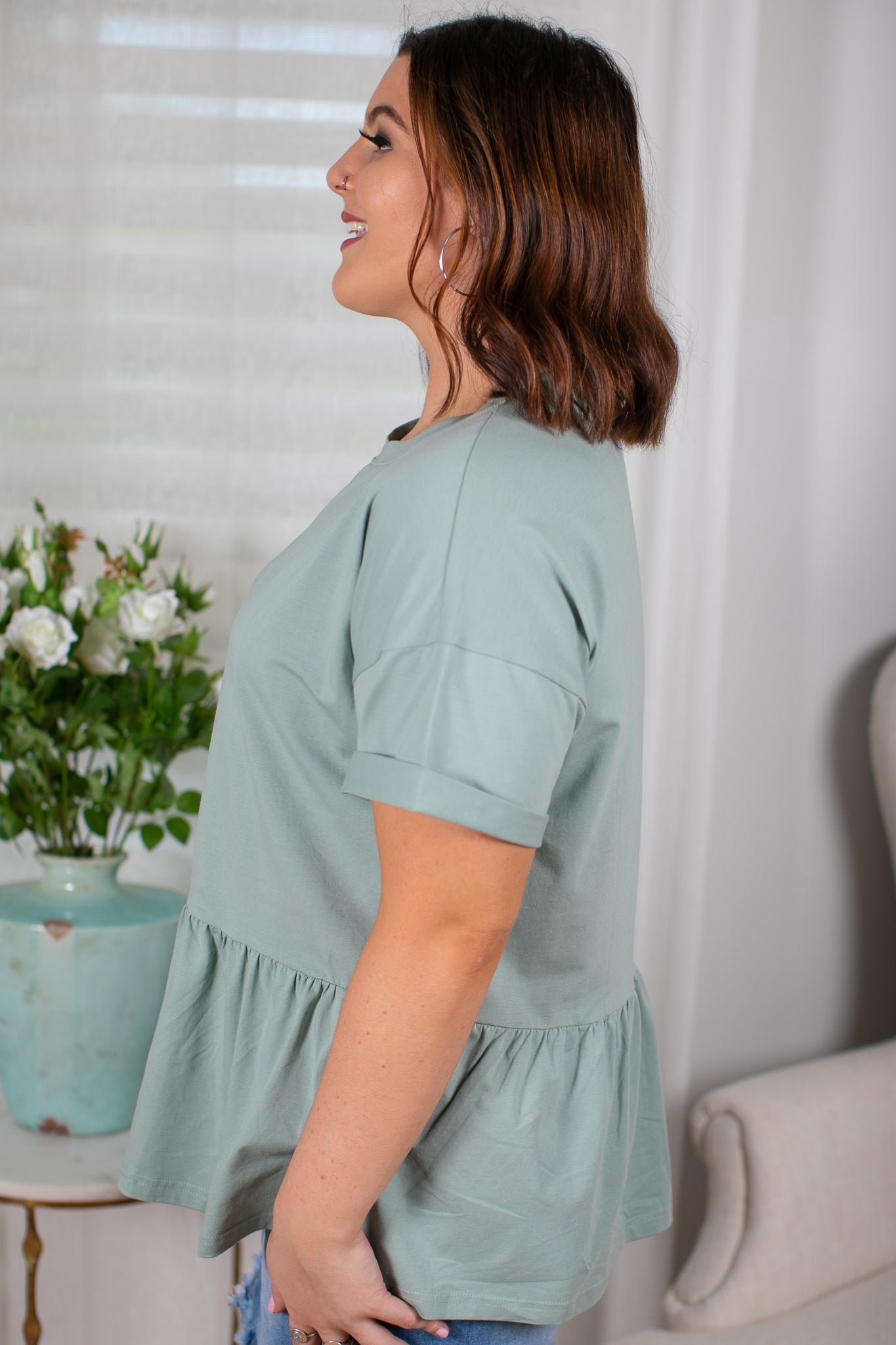 Aniston Top in Sage