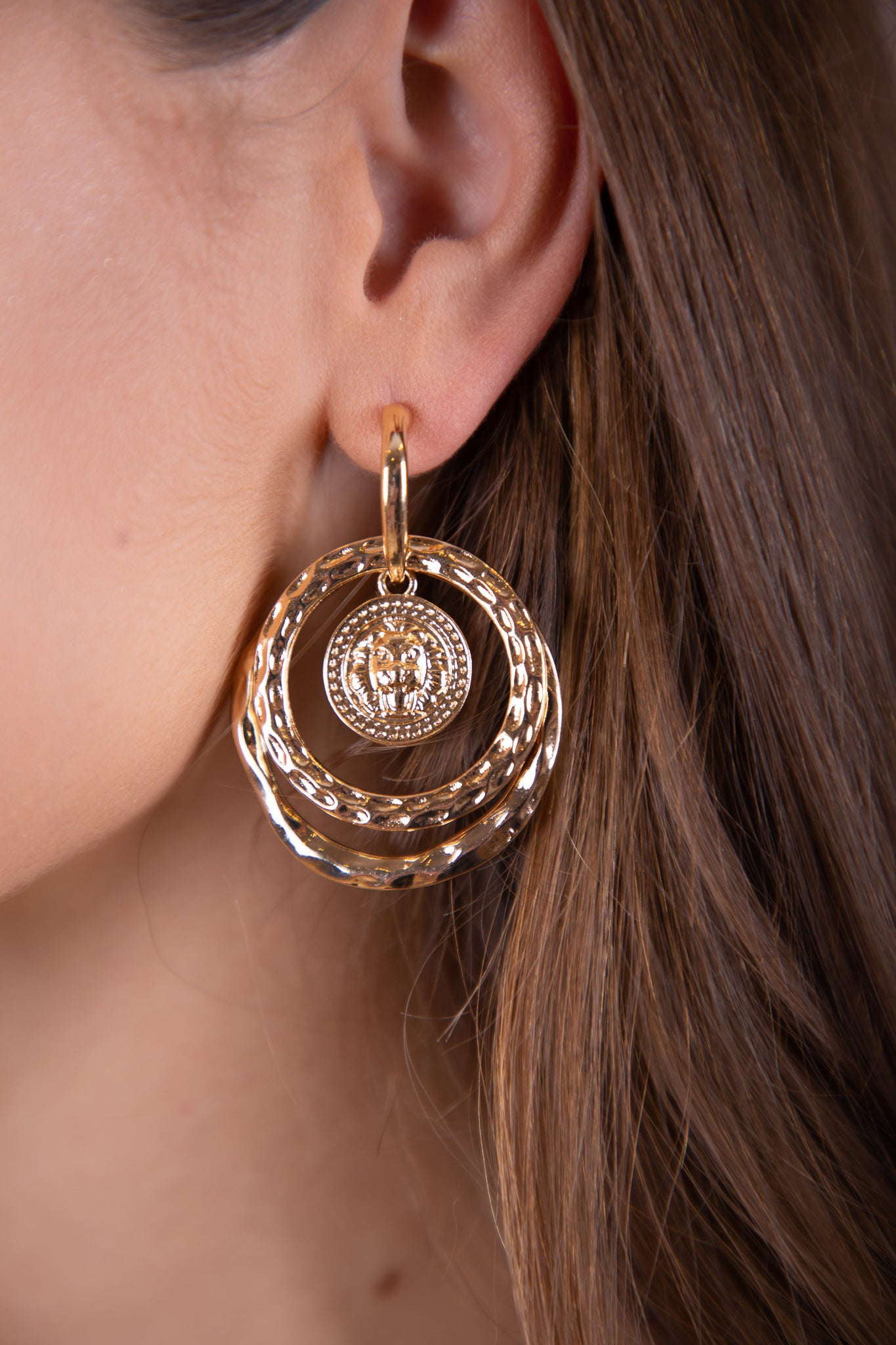 gold pendant earrings