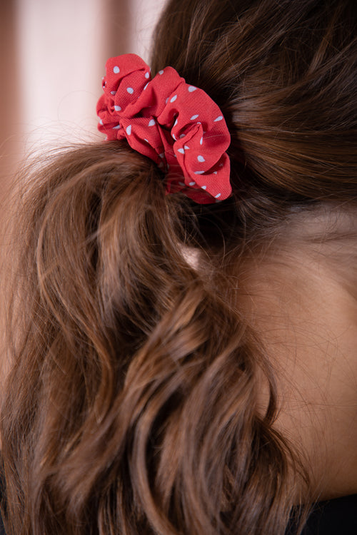 red and blue polka dots elastic hair scrunchie