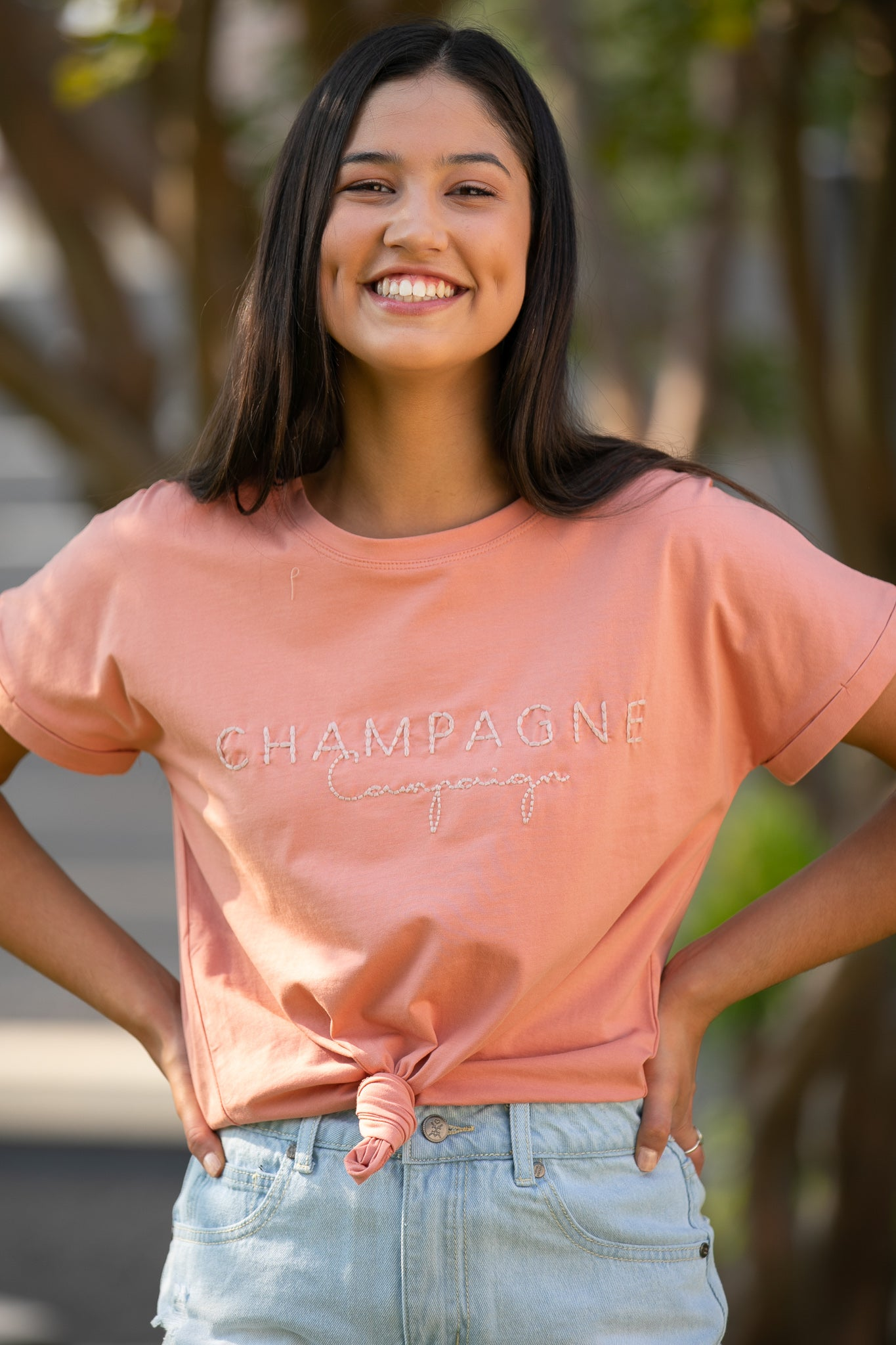 Champagne Tee in Rose