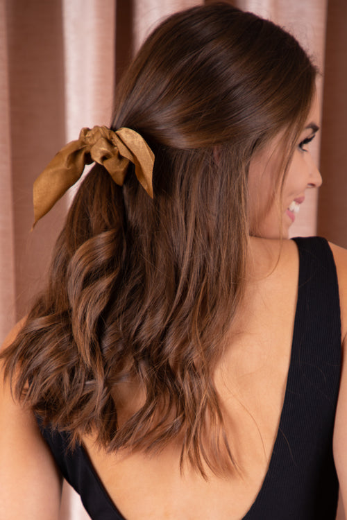 brown elastic hair scrunchie