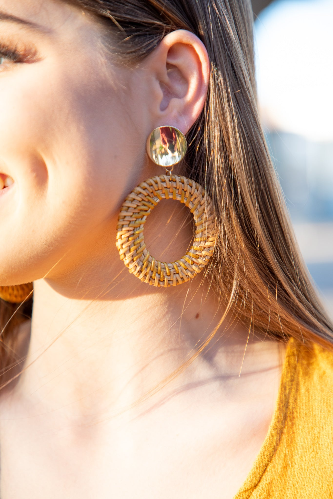 woven circle and gold earrings