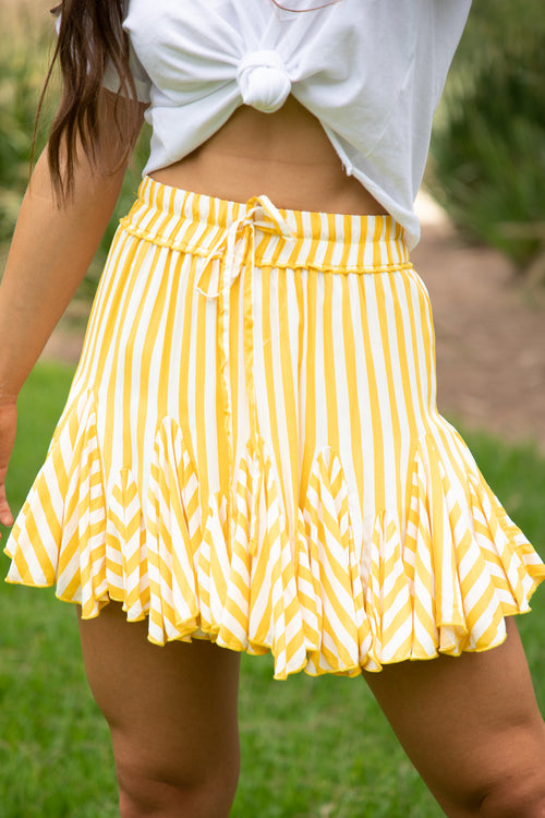 yellow and white stripe mini skirt