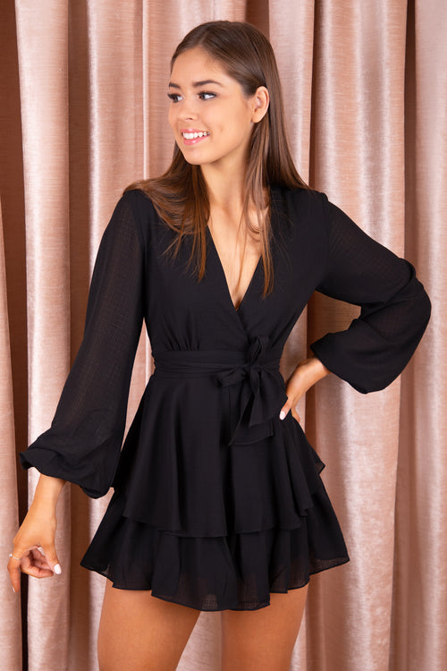 black long sleeve playsuit