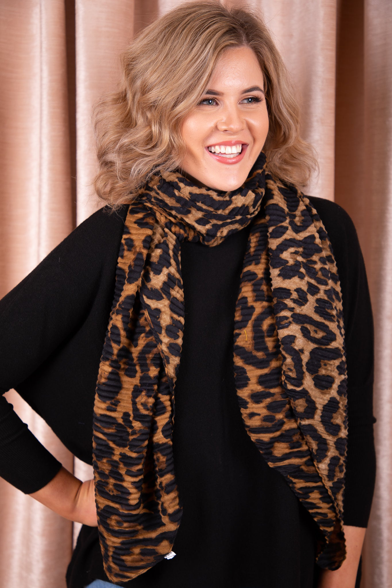 Charlie Scarf in Tan Leopard