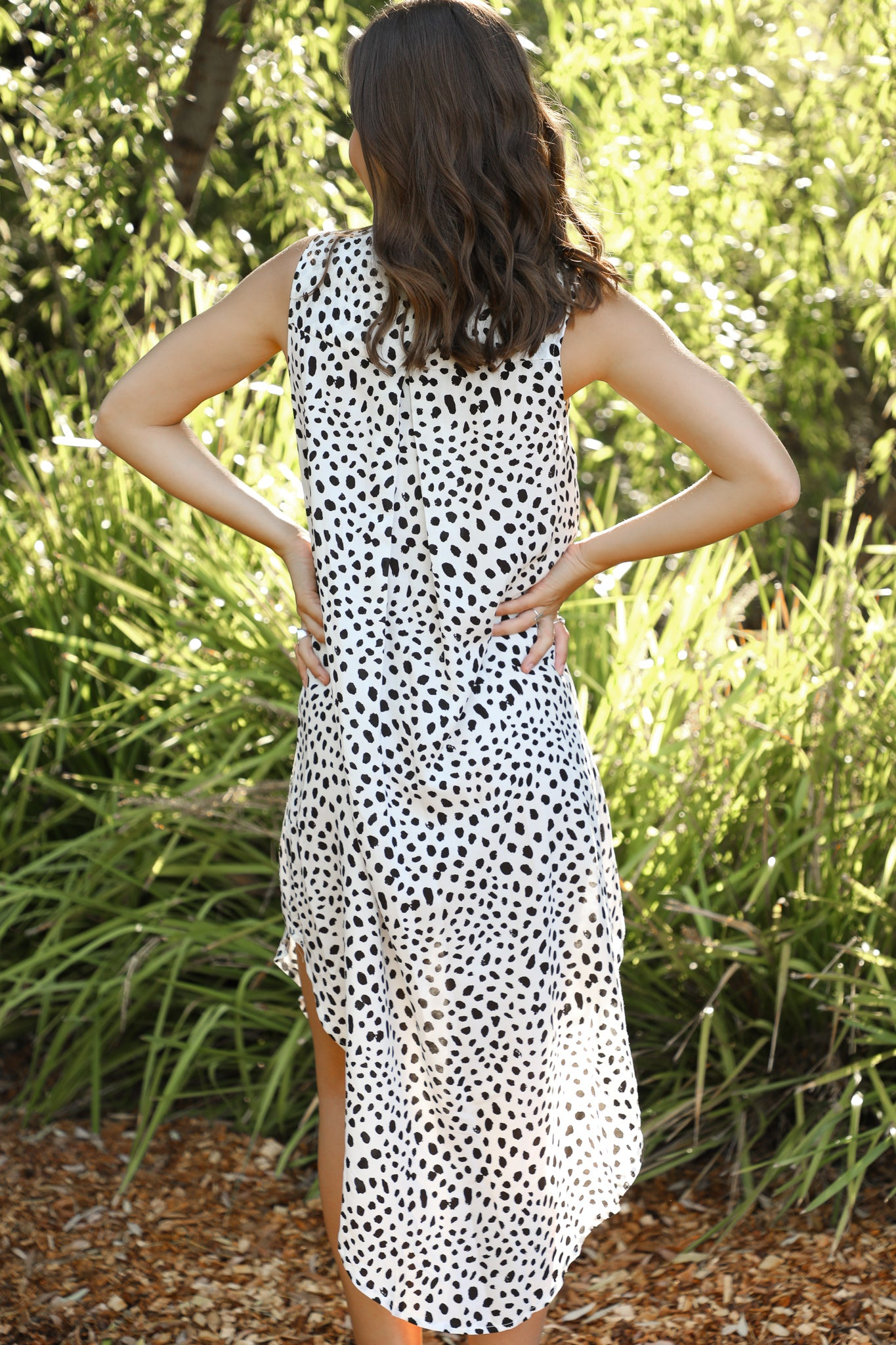 white animal print midi dress