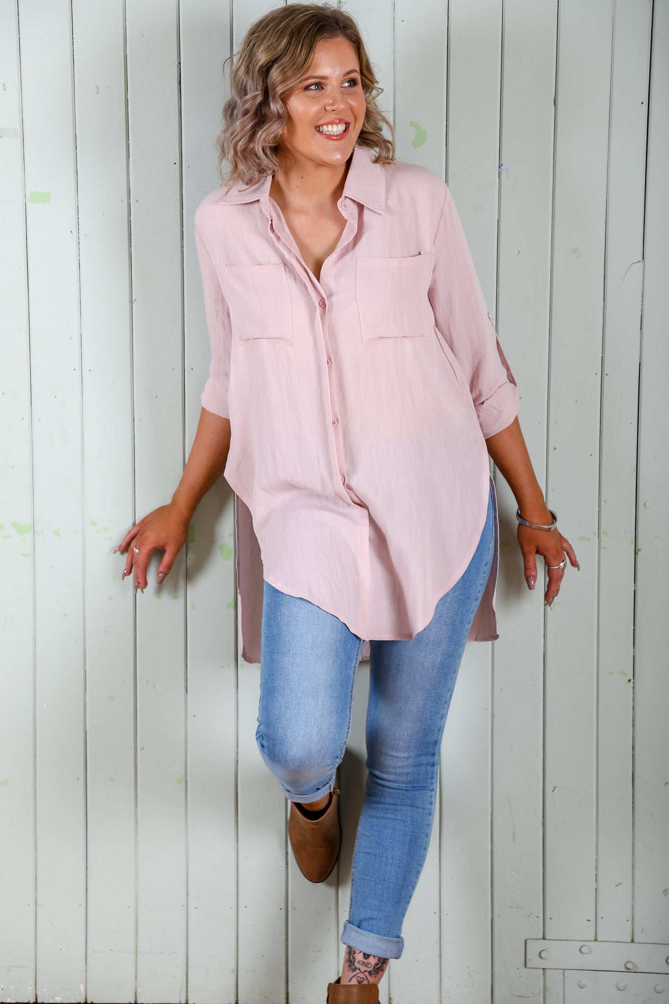 blush cotton shirt