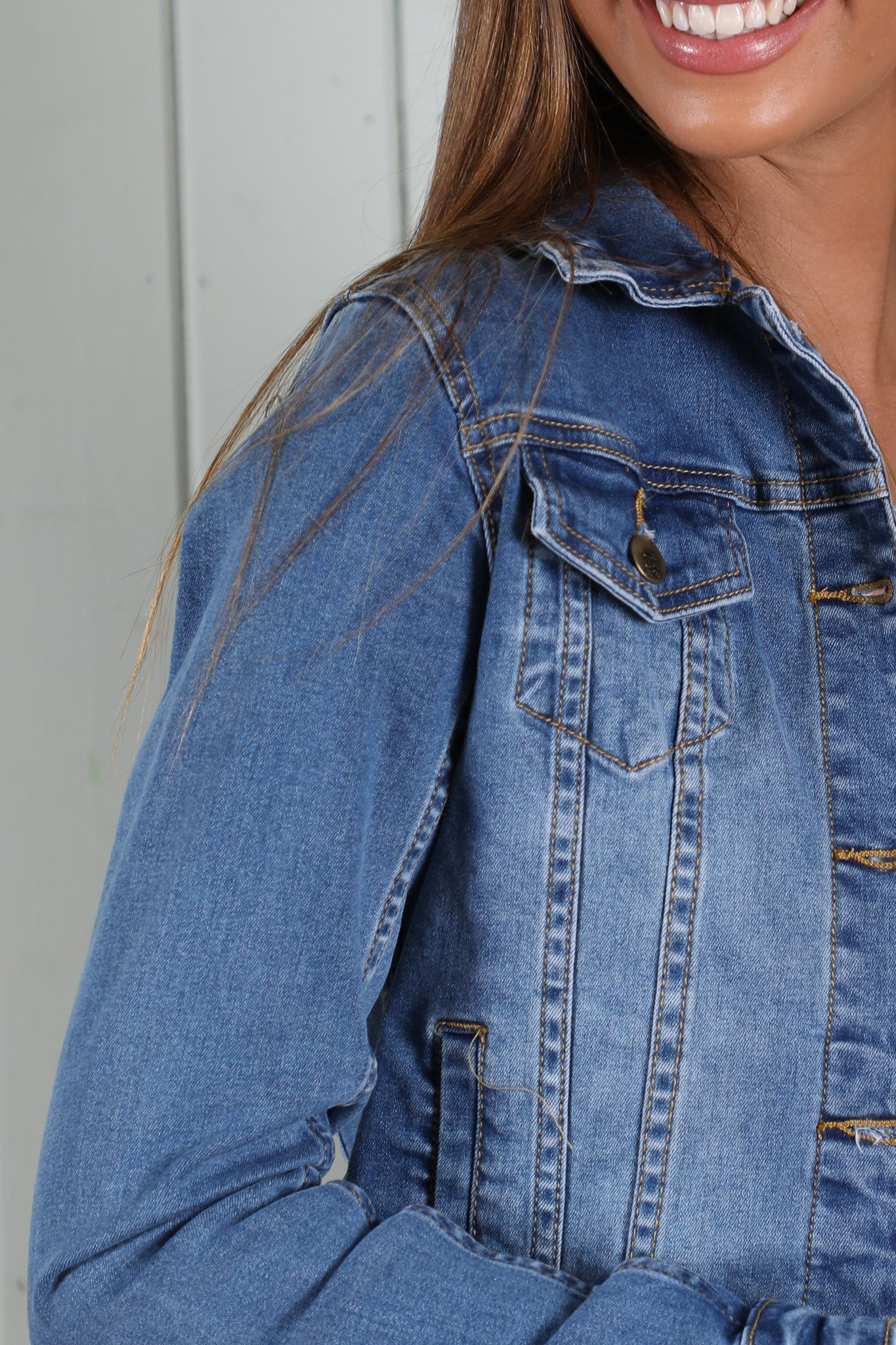 Jemma Denim Jacket in Mid Blue