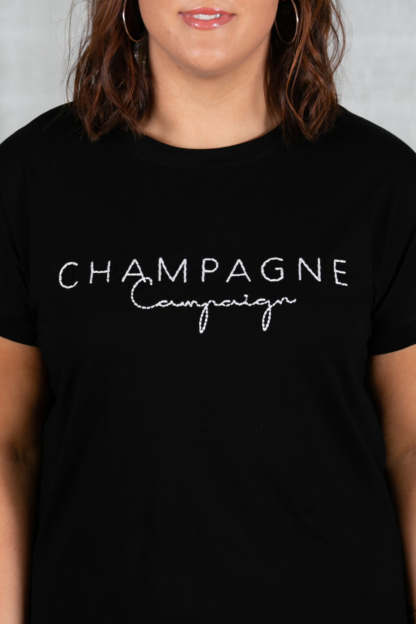 Champagne Tee in Black