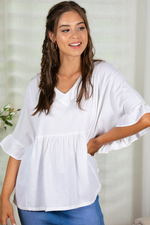 loose white linen top