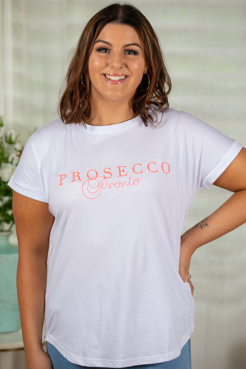 Prosecco Tee in White with Pink