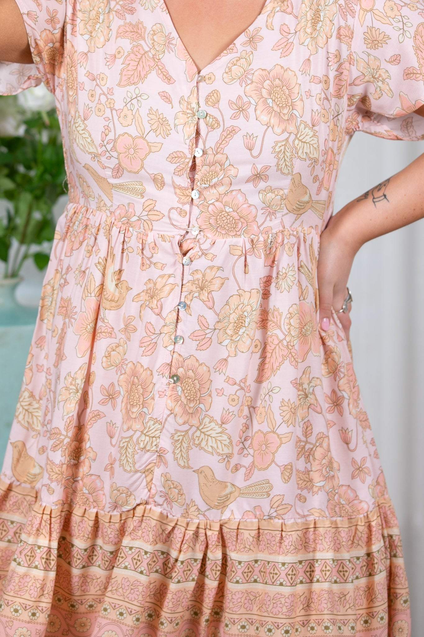 Colette Dress in Peach