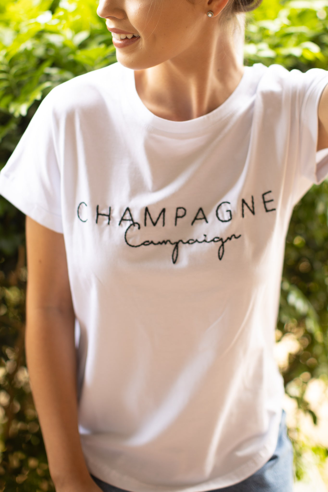 Champagne Tee in White