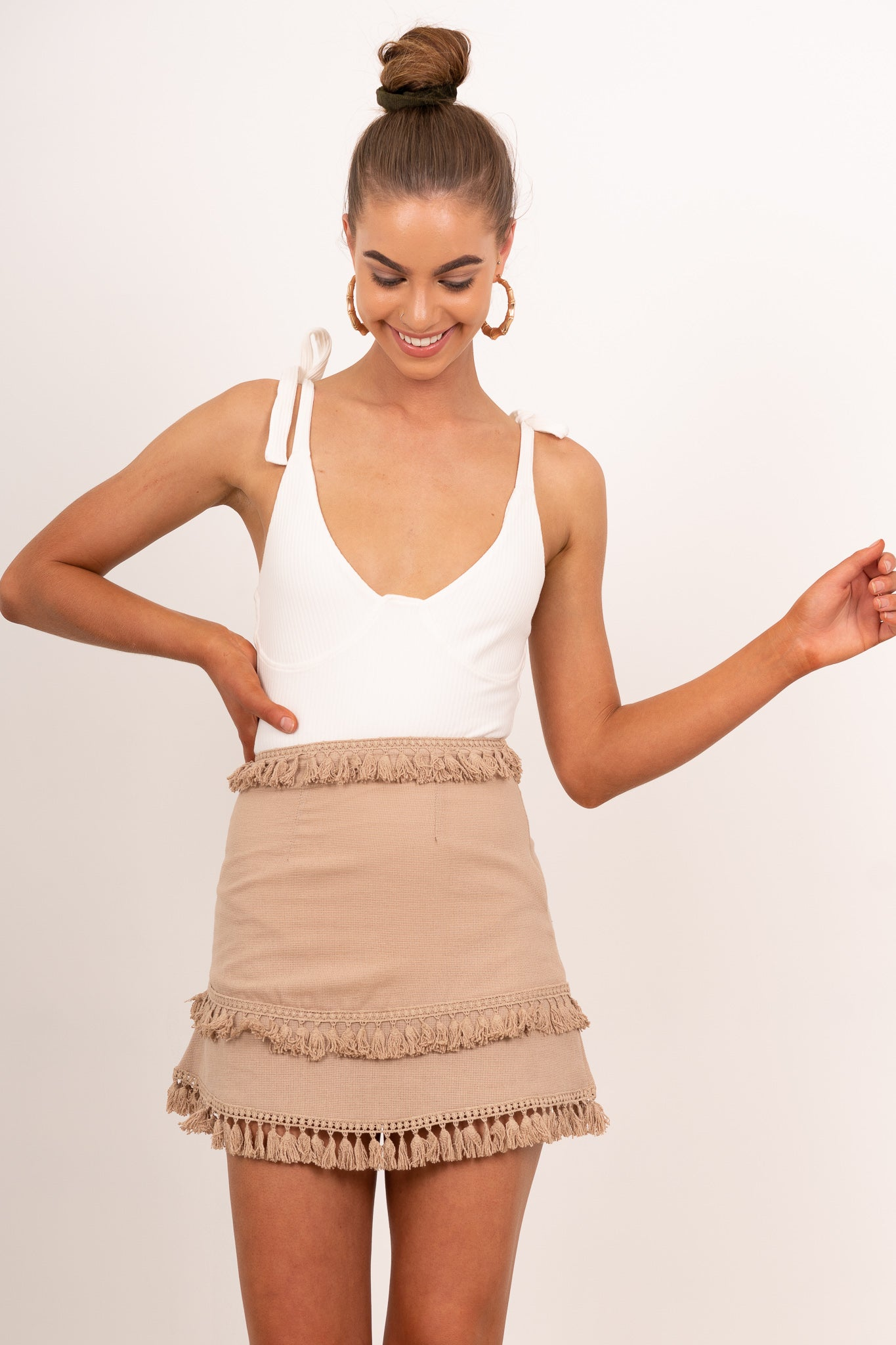 sand tassel mini skirt