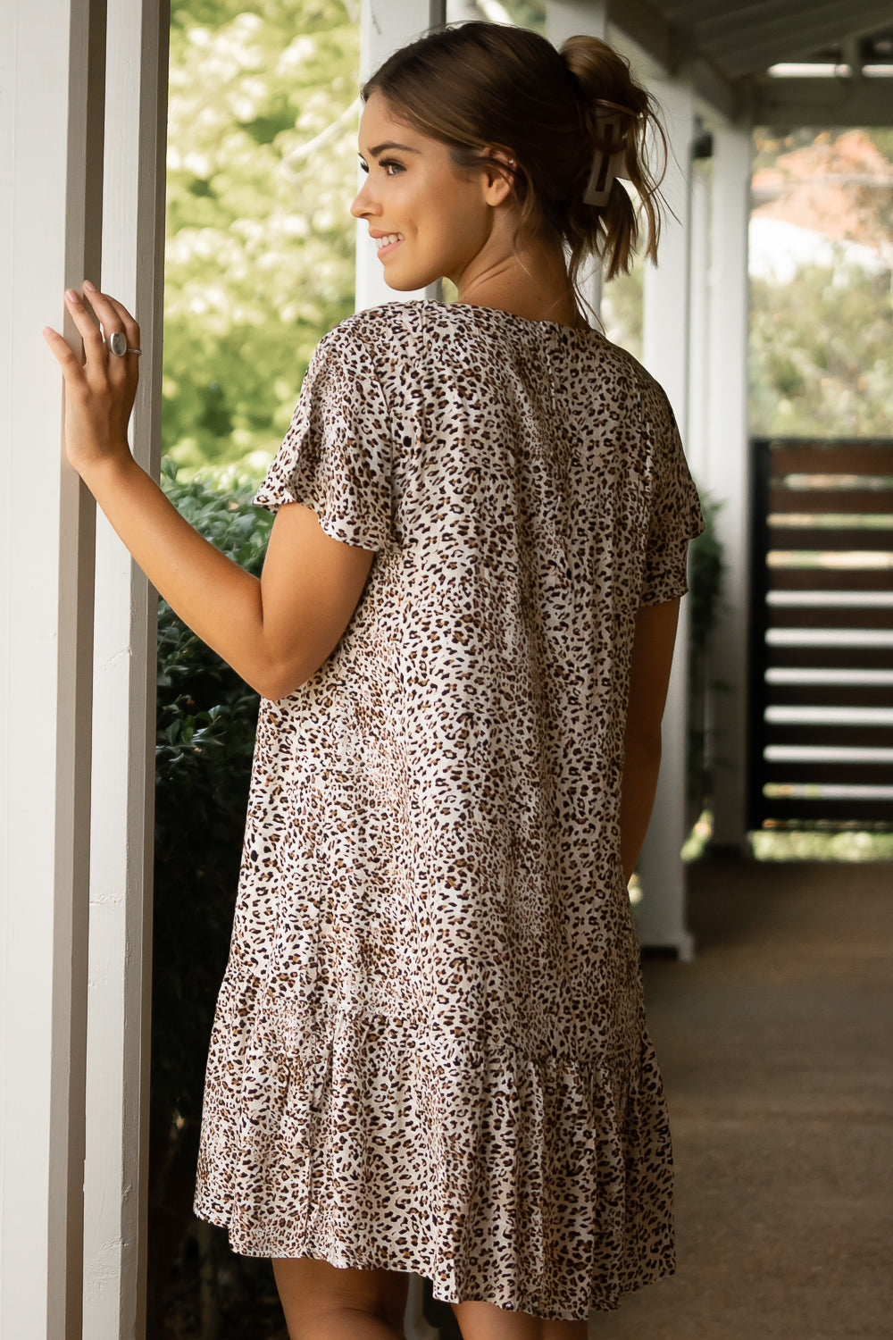 Ezra Dress in White Leopard