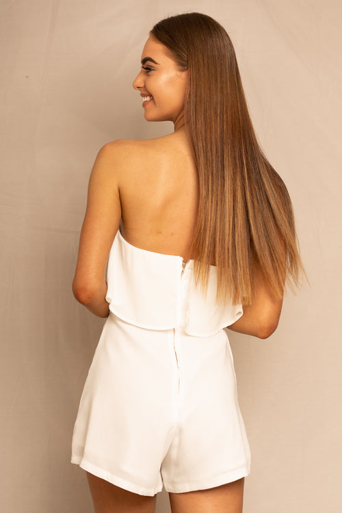 white strapless playsuit