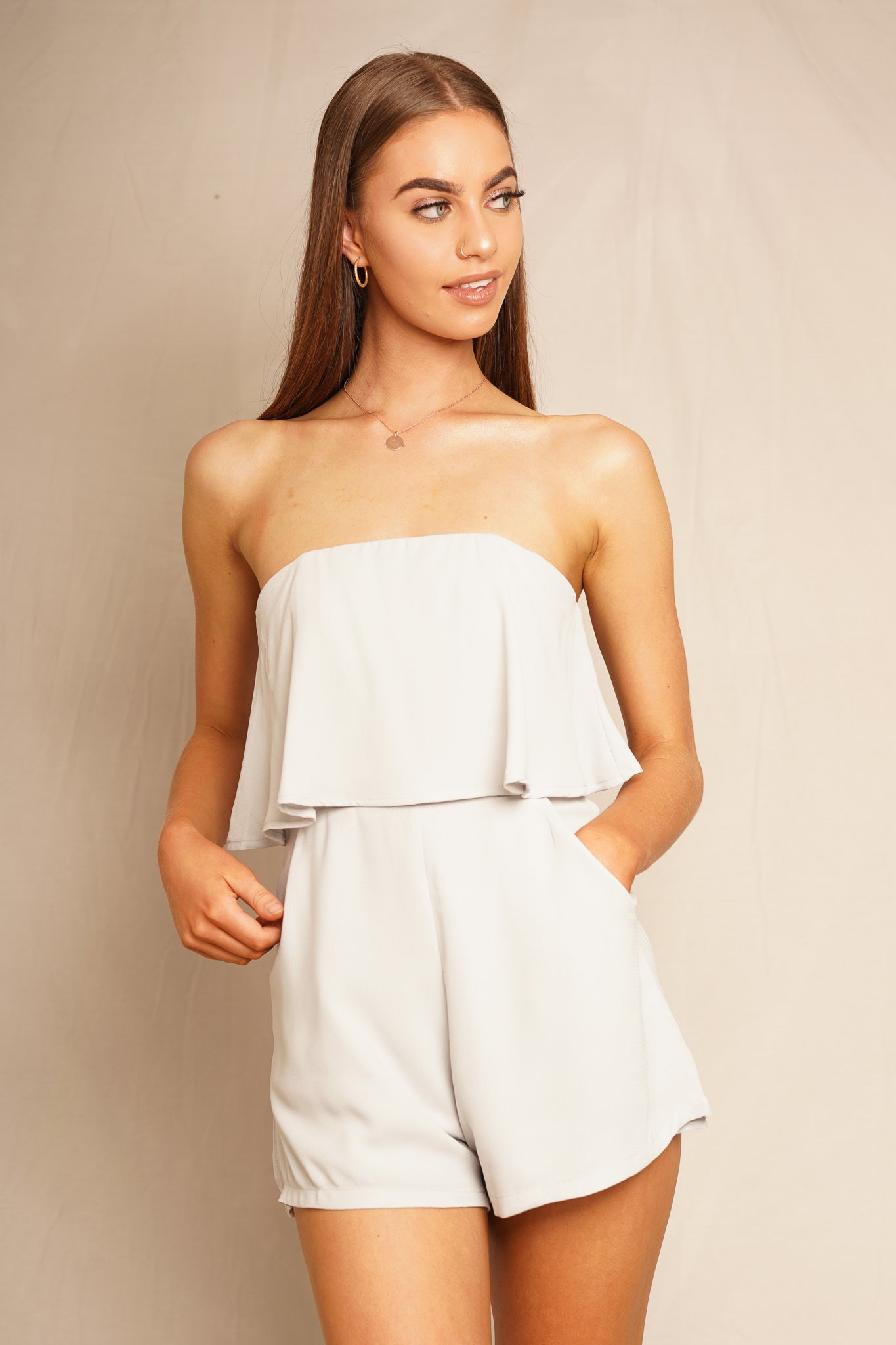grey strapless playsuit