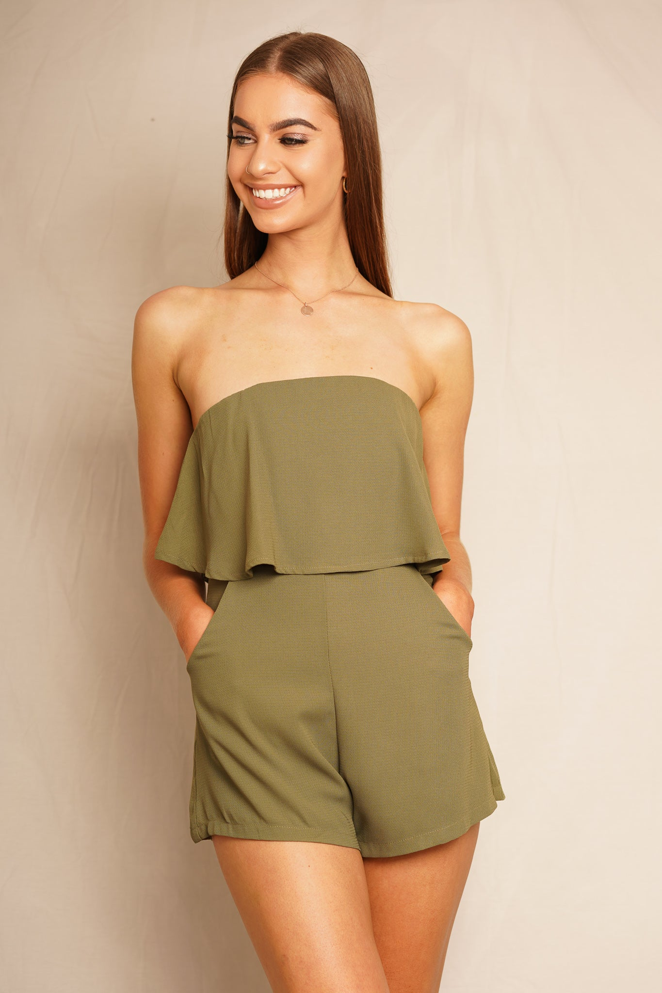 khaki strapless playsuit
