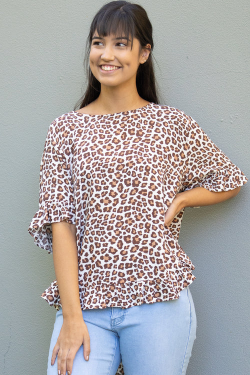 Nessa Top in White Leopard