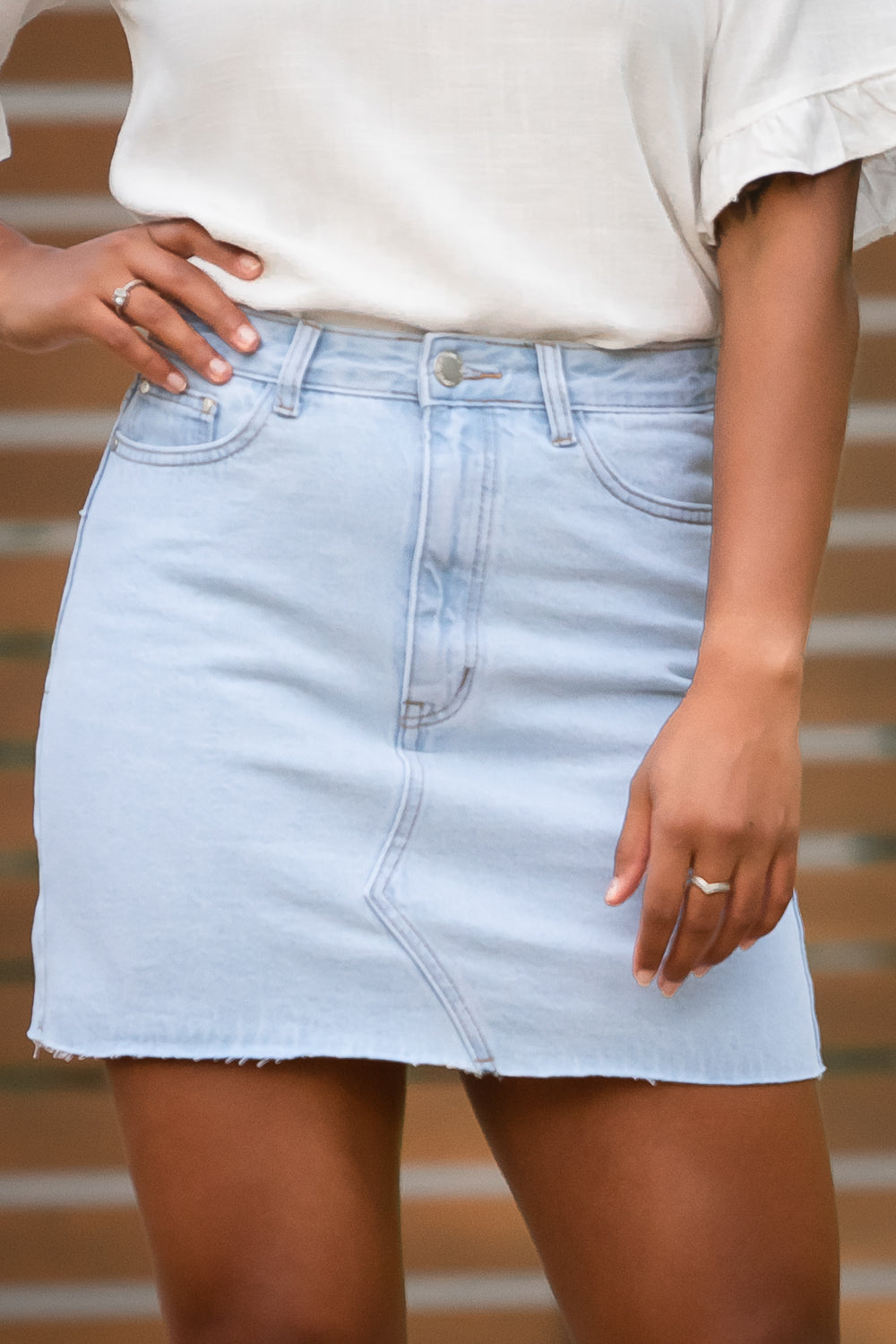 Tash Skirt in Light Denim