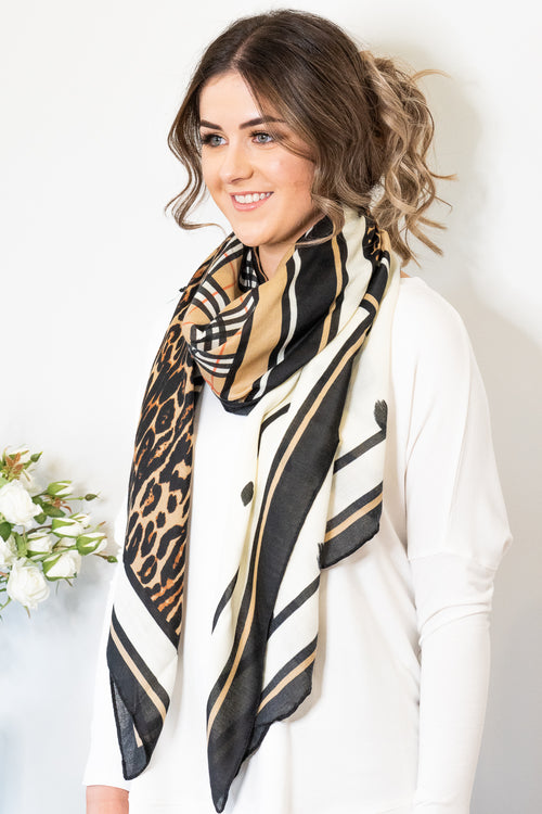 Audrey Scarf in Tan Multi