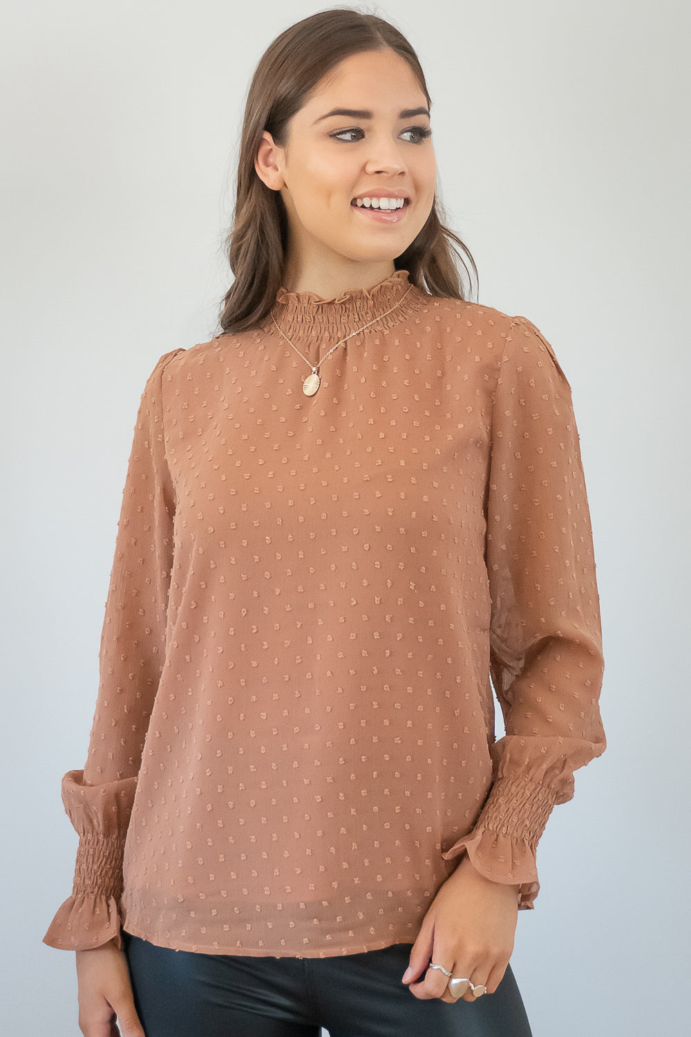 Zena Top in Tan