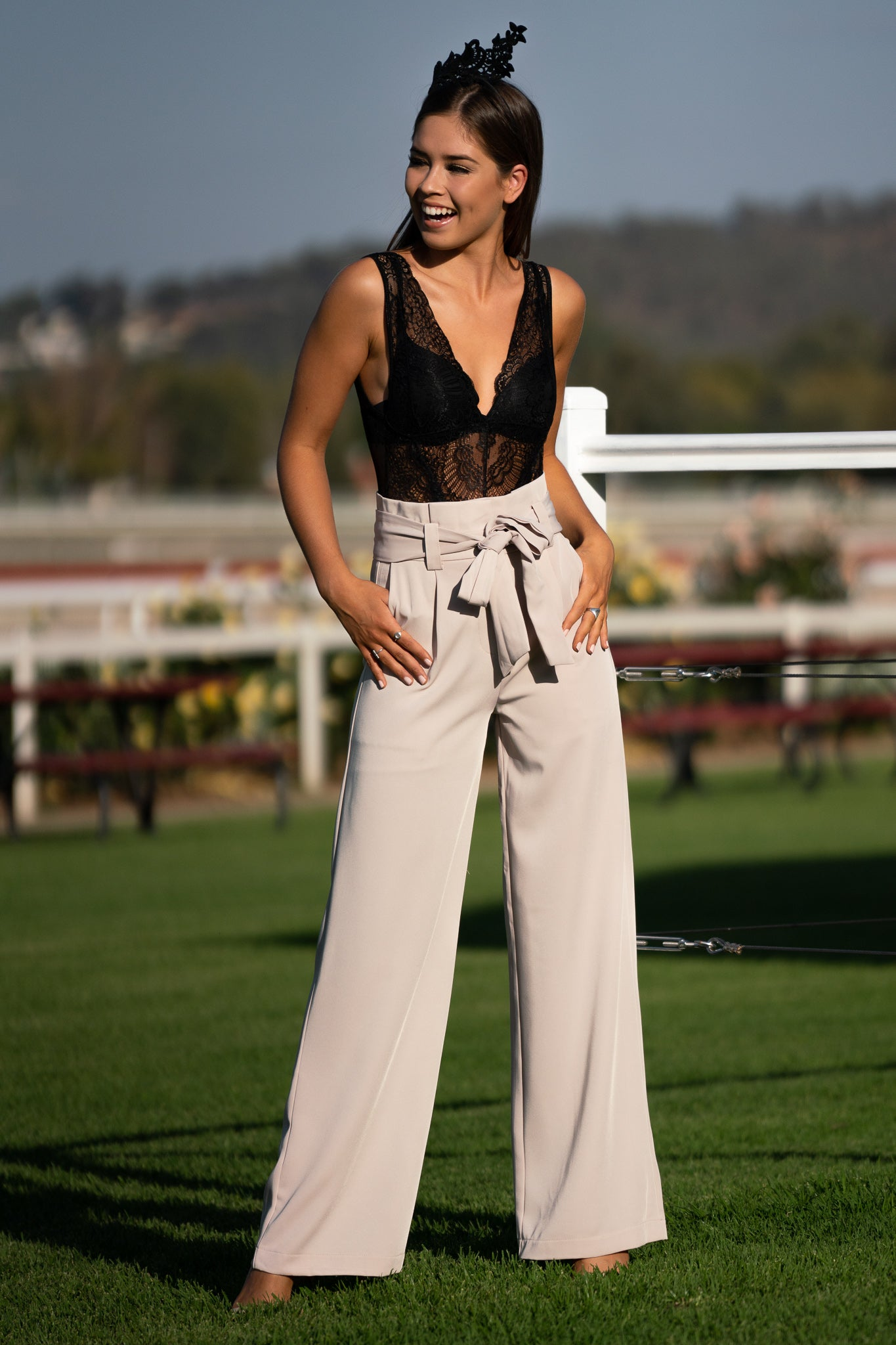 high waisted cream wide legged pants