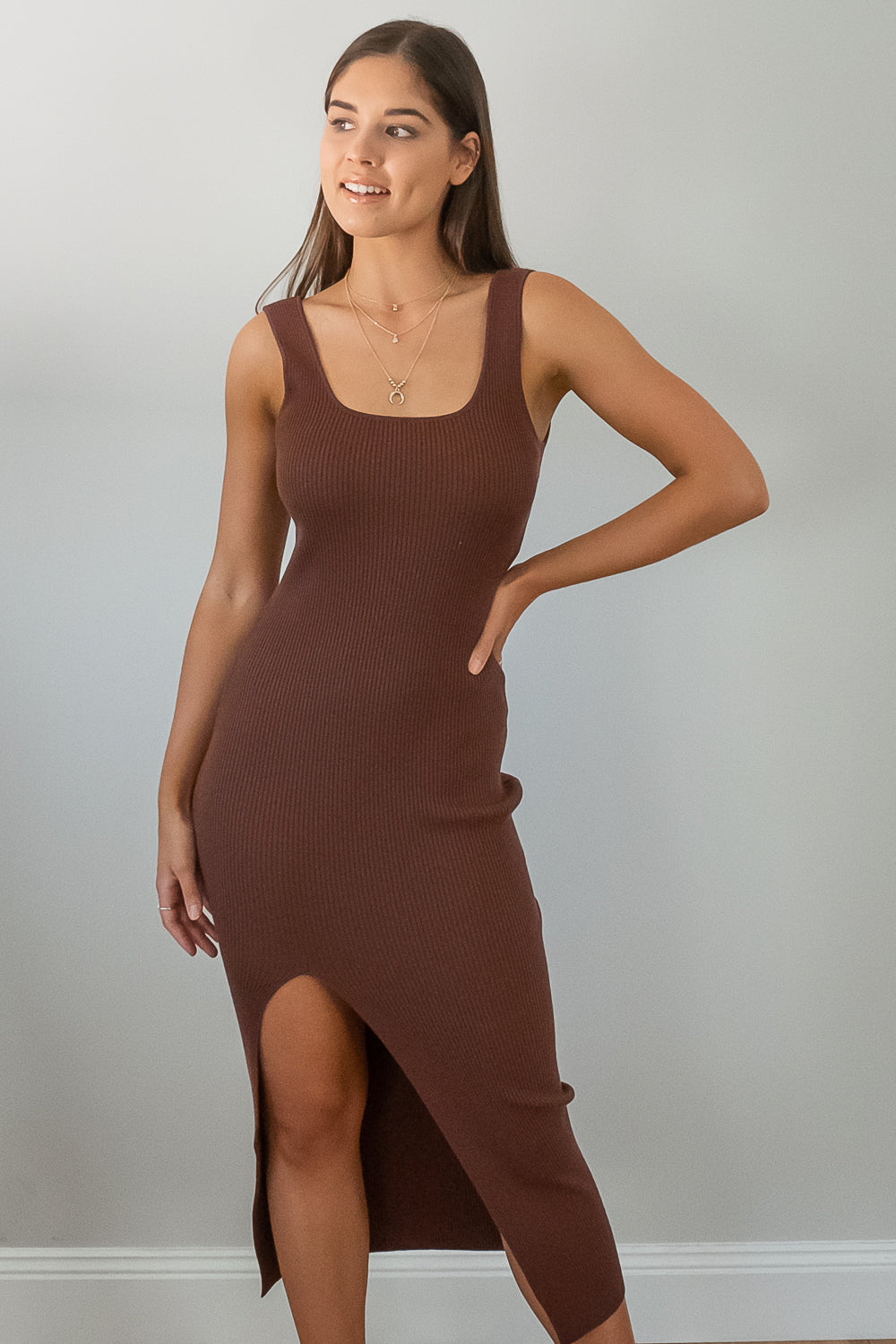 Briony Dress in Chocolate