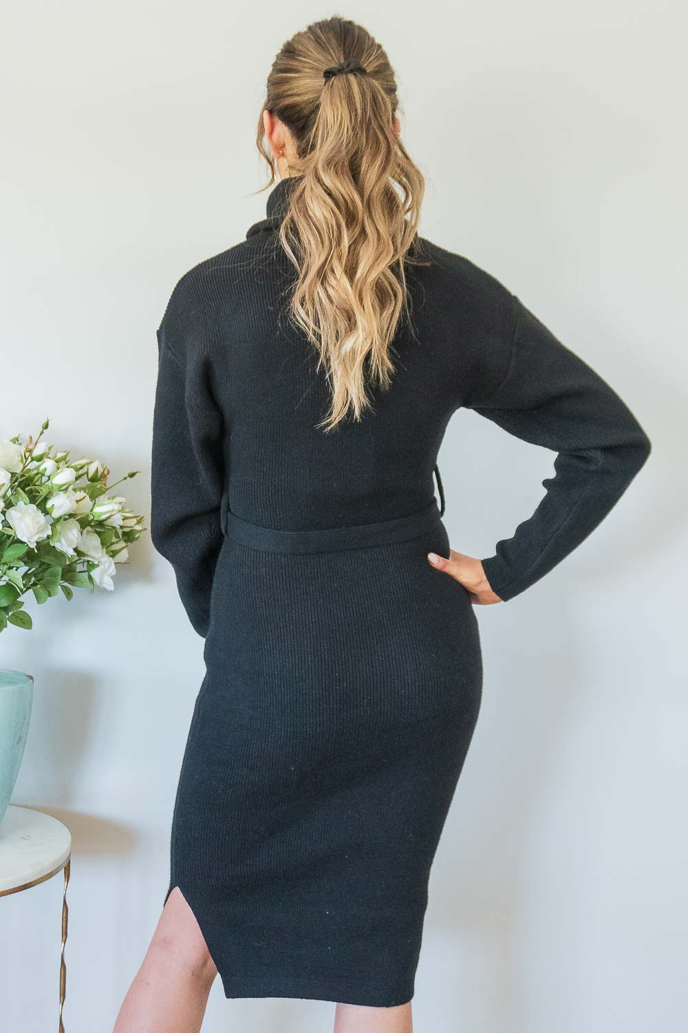 Sansa Dress in Black Knit