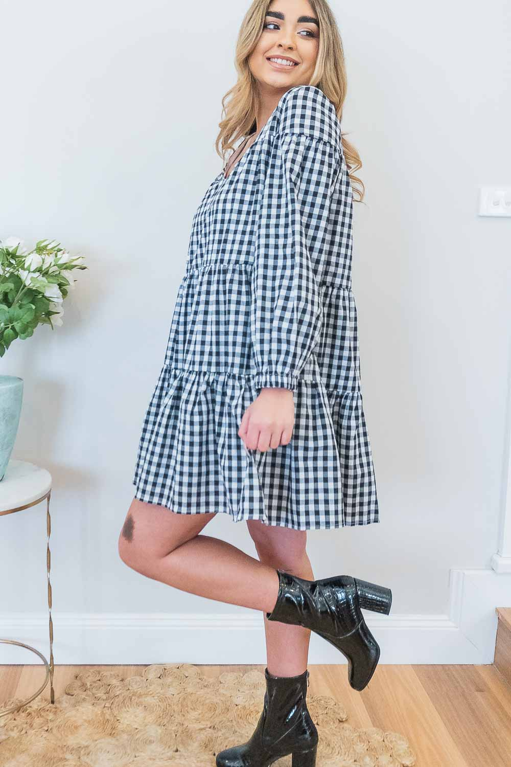 Cynthia Dress in Black Gingham