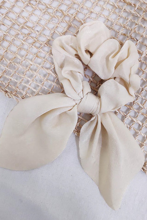 cream elastic hair scrunchie