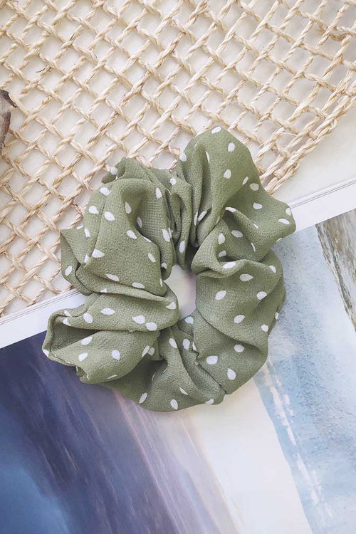 green and white polka dots elastic hair scrunchie