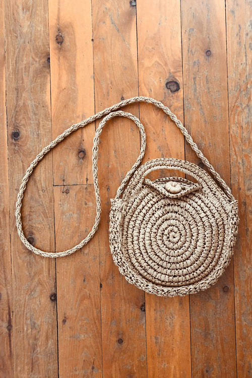 brown woven circle bag