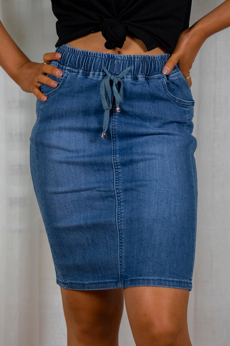 Donna Skirt in Dark Denim