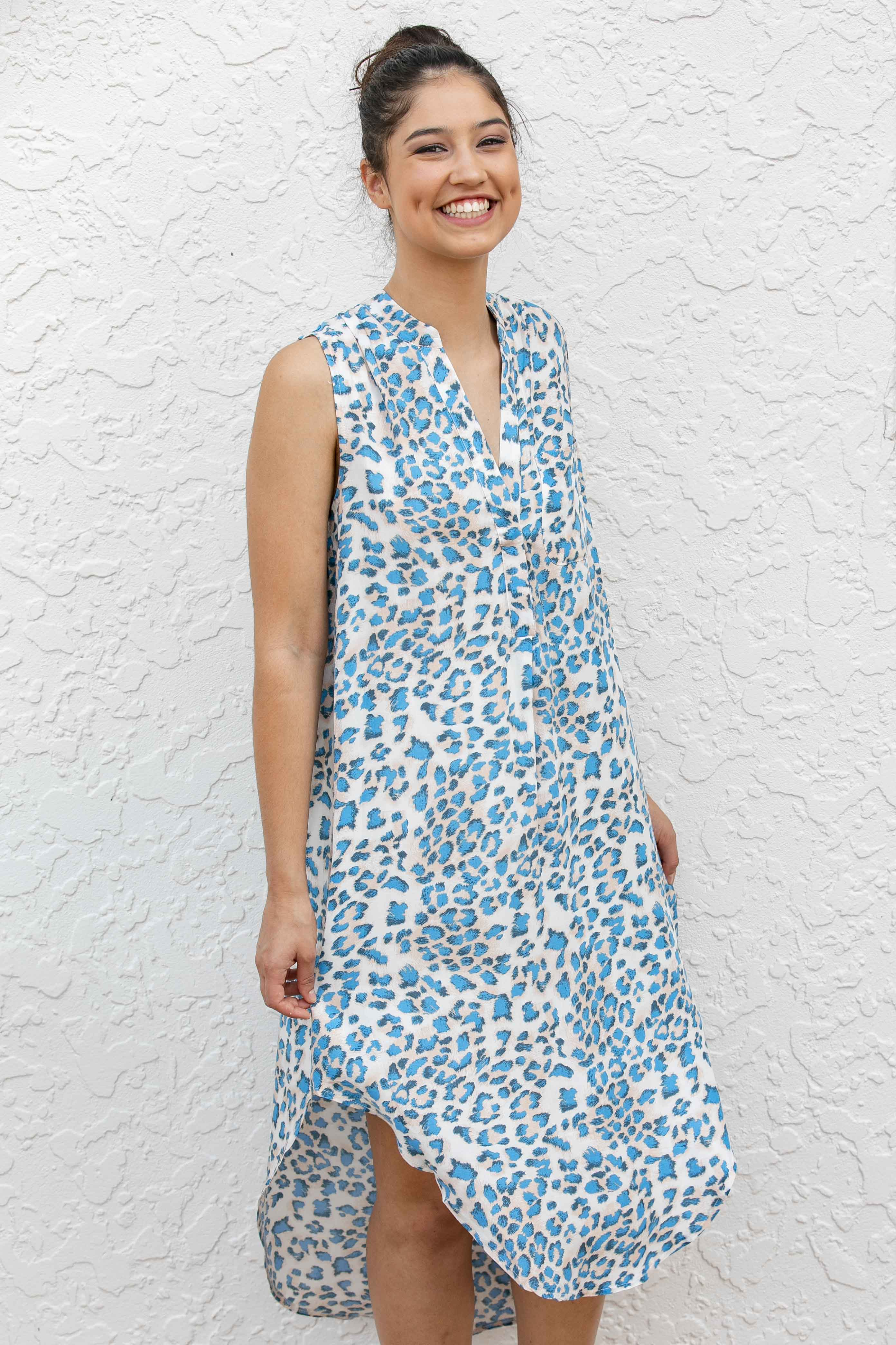 Shay Dress in Blue Leopard