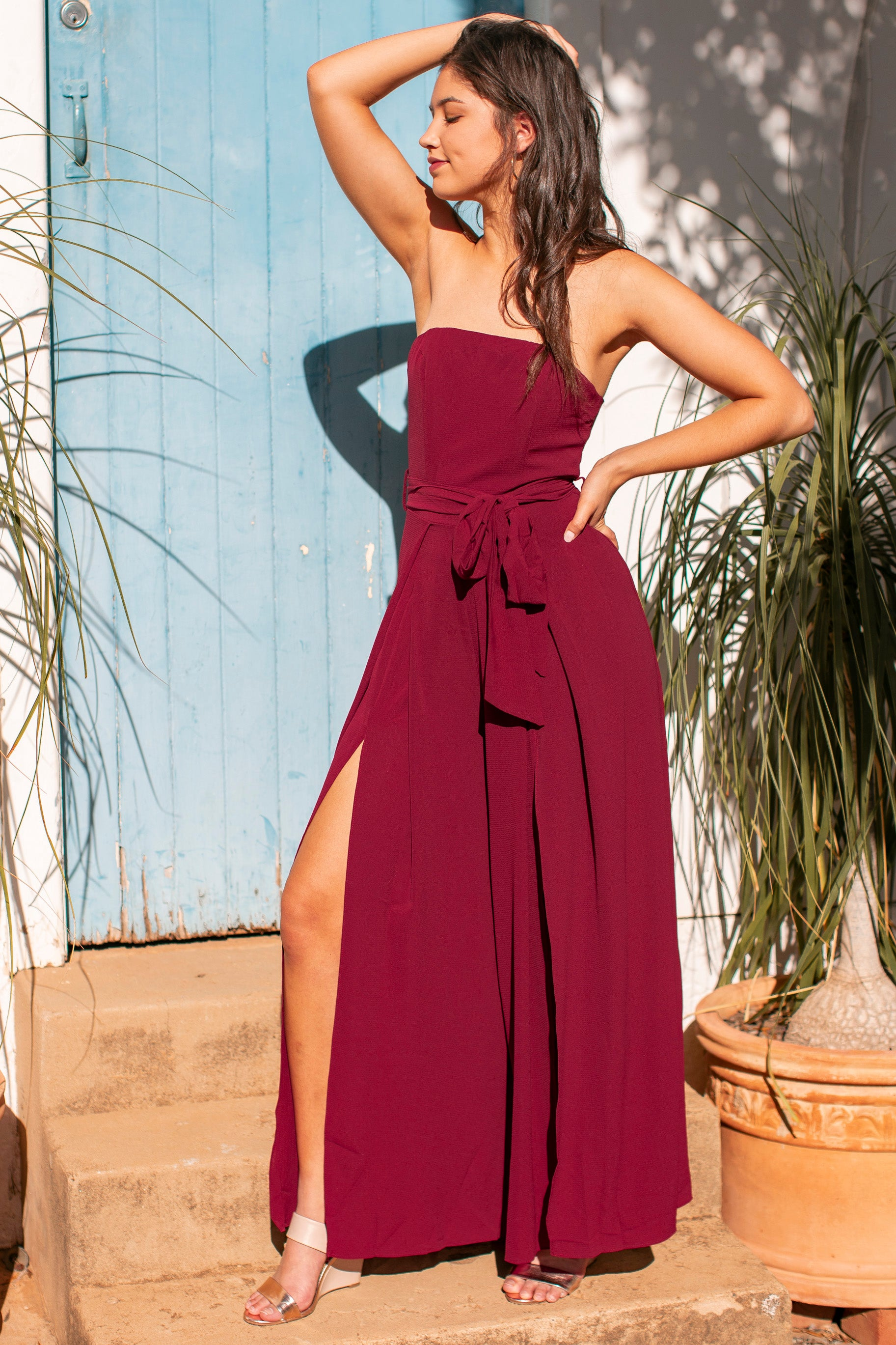 Robbie Jumpsuit in Wine