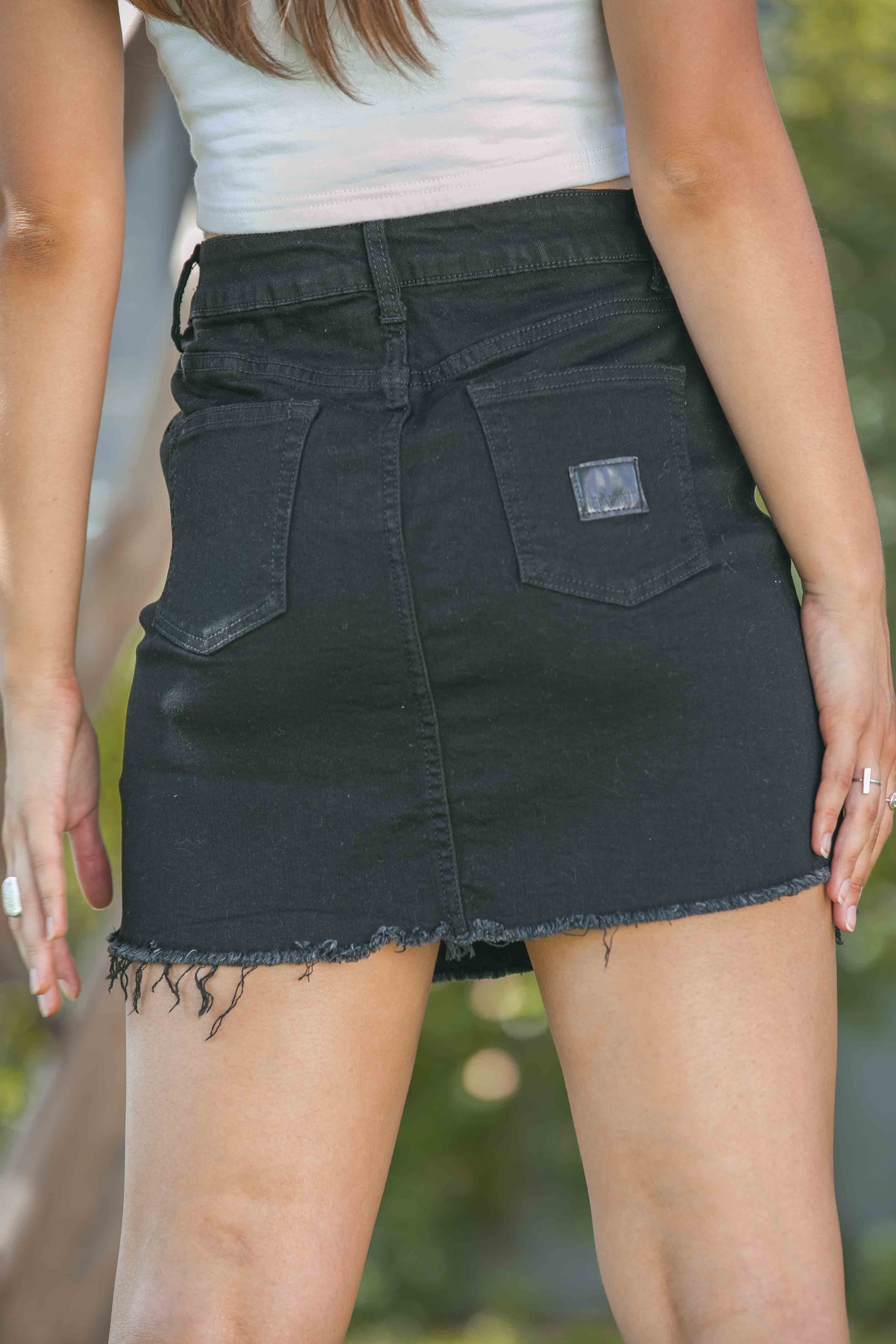 Lou Skirt in Black Denim