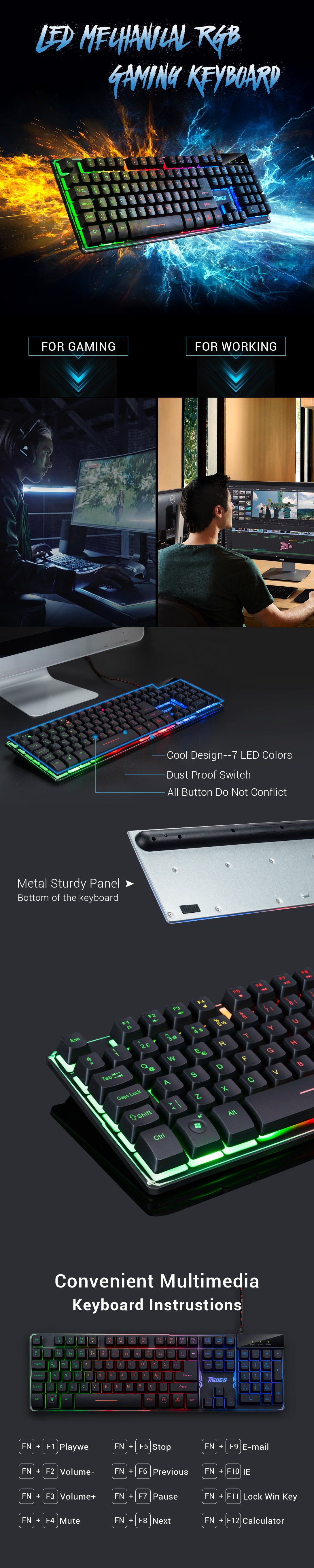 Rainbow LED Wired Backlit Mechanical RGB Gaming Keyboard with 7 Color 104 Keys
