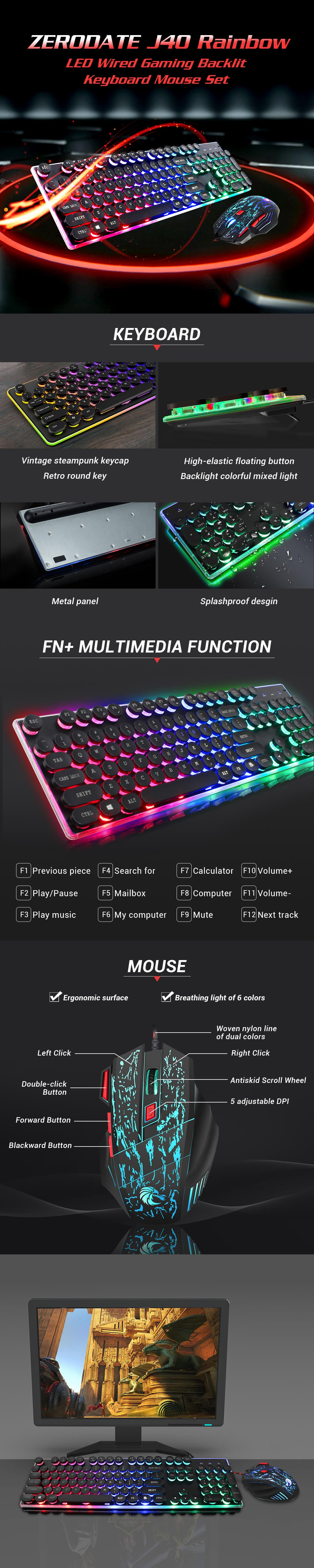 J40 Rainbow LED Wired Gaming Backlit Keyboard Mouse Set