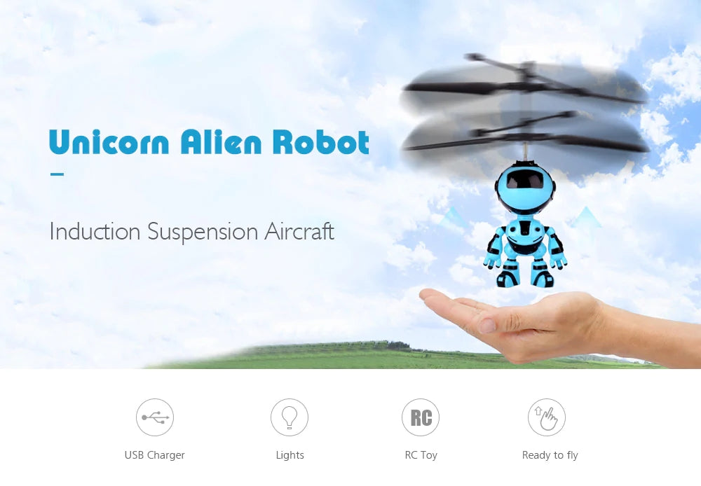 Unicorn Alien Robot Induction Suspension Aircraft Flying Toy Drone Kid Gifts
