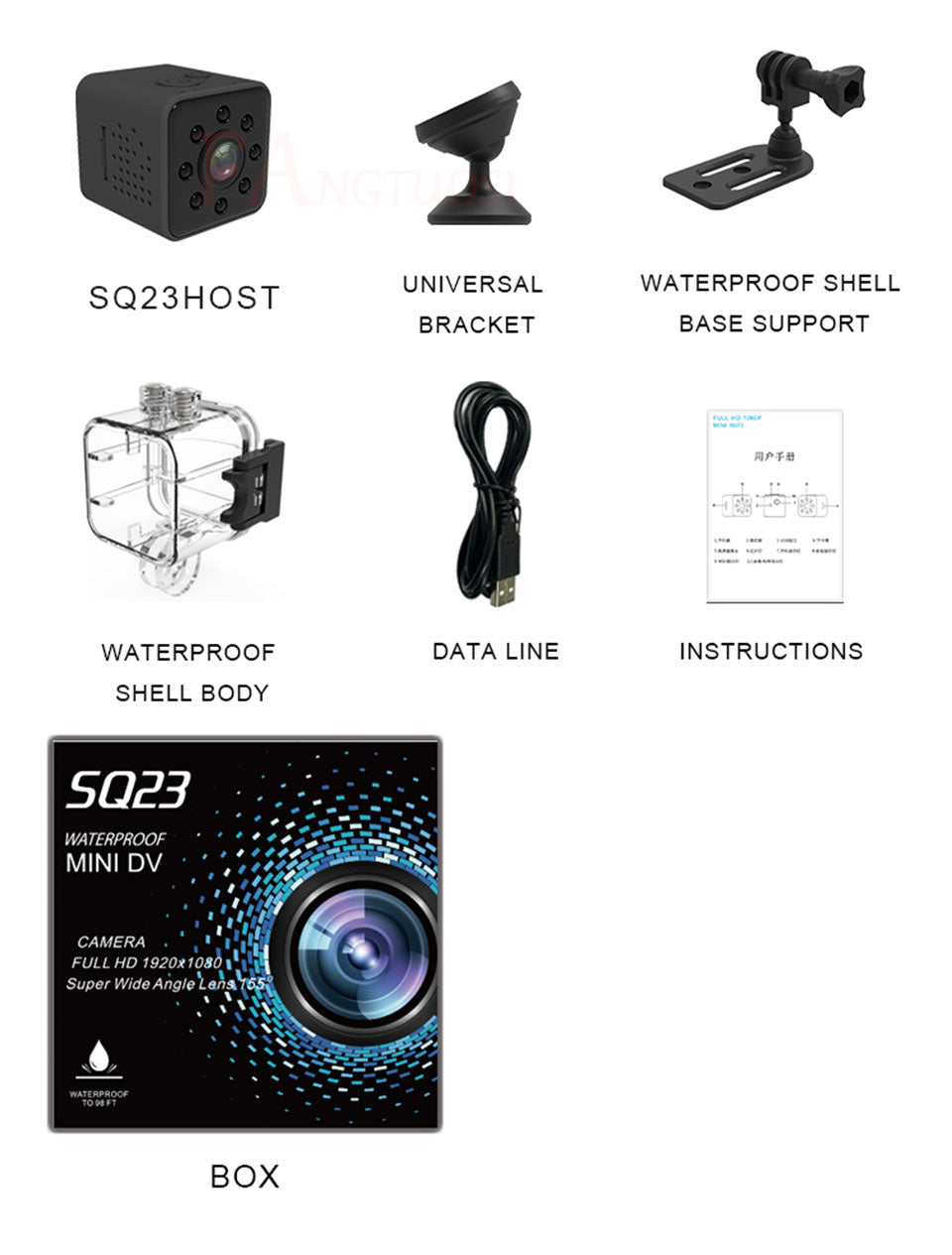 Quelima SQ23 Mini Wifi 1080P 155 Degrees Sports Waterproof Night Version Video Recorder Dashcam