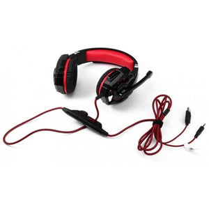 Kotion Each G9000 Gaming Headset Headphone 3.5mm Stereo Jack with Mic LED Light for PC/PS4/Tablet/Laptop/Cell Phone (Black Red)