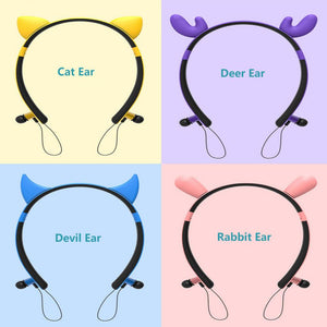 Cute Ear Wireless Bluetooth Earphones Noise Cancelling Comfortable Neckband