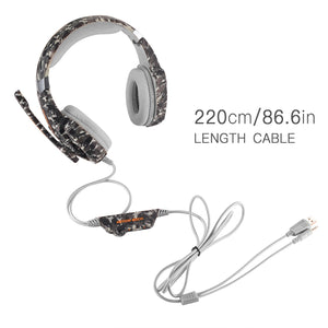 Kotion Each G9000 Gaming Headset Headphone 3.5mm Stereo Jack with Mic LED Light for PC/PS4/Tablet/Laptop/Cell Phone (Camouflage)
