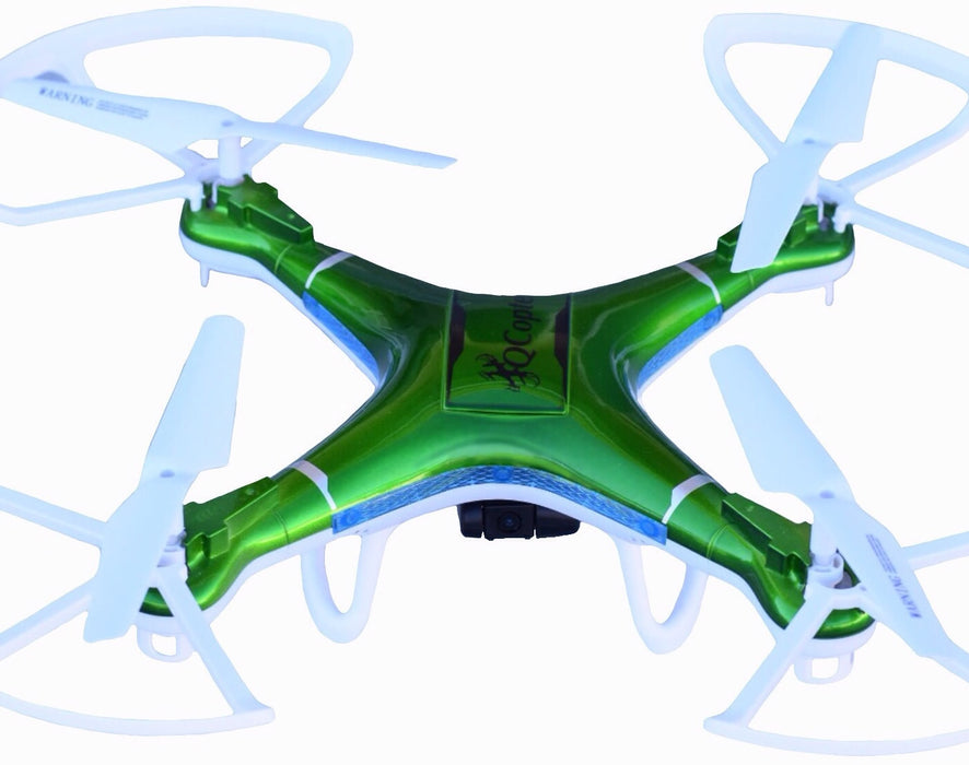QCopter Drone Quadcopter - w/HD FPV Wifi Camera, BONUS Battery and Crash Kit; 5-Star Customer Service (Green)