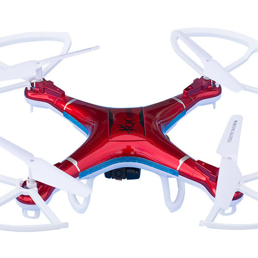 QCopter Drone Quadcopter - w/HD FPV Wifi Camera, BONUS Battery and Crash Kit; 5-Star Customer Service (Red)