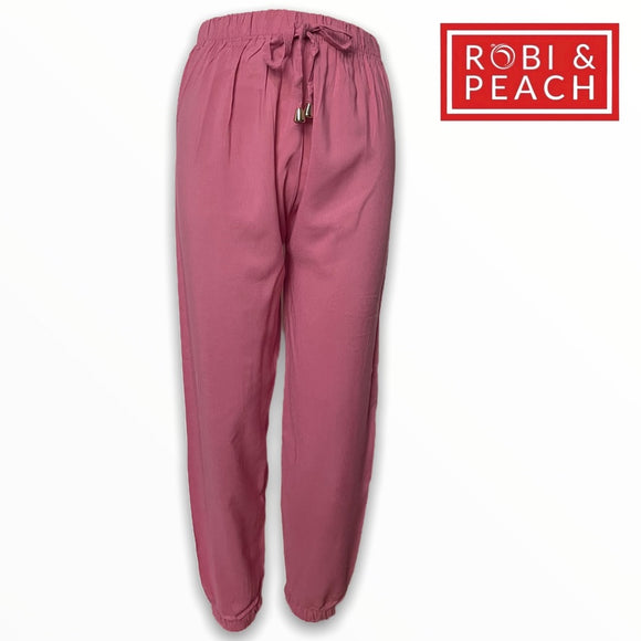 Alice Plain Bell Jogger Challis Pants | Ankle Pants Relax Fit |